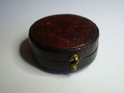 Small Antique Leather Covered Case For Compass / Pocket Barometer / Pocket Watch