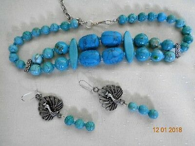 Handcrafted Turquoise Stone Beaded Double Strand Bib Necklace & Earrings Set