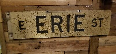 Rare Vtg Antique Chicago ILL Wooden Wood Street Sign E ERIE ST Double Sided