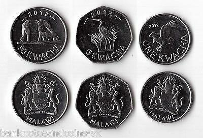 MALAWI COMPLETE COIN SET 1+5+10 Kwacha 2012-2013 UNC UNCIRCULTED LOT 3