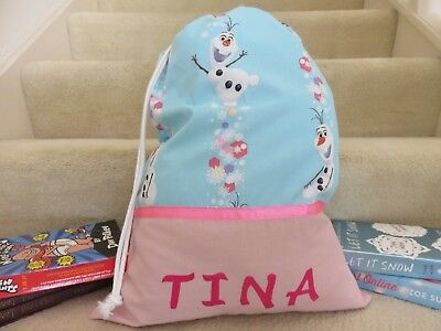 OLAF (FROZEN) Childrens/Girls Personalised Character Library Bag / Book Bag