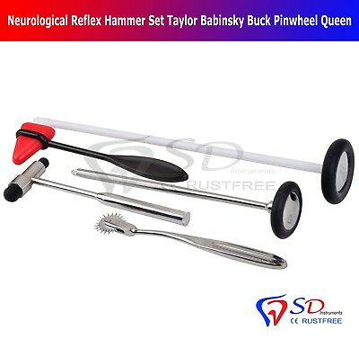 5 PCS Neurological Diagnostic Taylor Buck Babinski Queen Hammer Pin Wheel Set UK