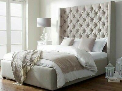 WINGED Crushed Velvet Fabric Upholstered Bed Frame
