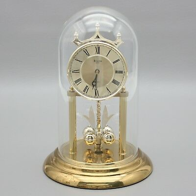 Vintage Bulova Anniversary Clock Elegant Quartz Chime Glass Dome West Germany