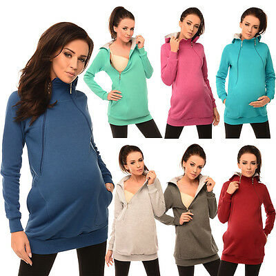 Purpless Maternity Pregnancy & Breastfeeding Hoodie with Zips Nursing Top B9052