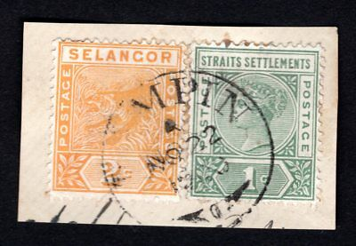 Malacca 1900 cut with two stamps used