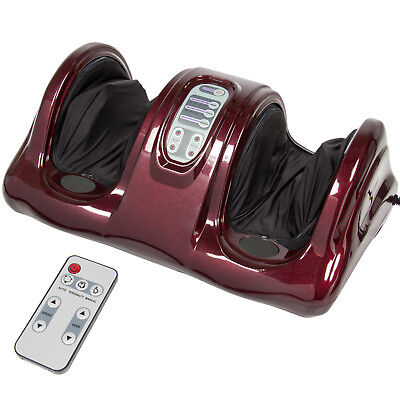 Foot Massager Kneading and Rolling Leg Calf Ankle Machine w/ Remote Control Red