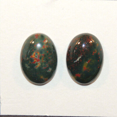 Bloodstone Cabochon 13x18mm with 5.5mm Dome from India set of 2 (13330)