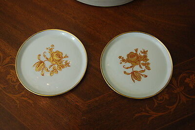Wonderful Vintage Pair Of Limoges France Gold Flower Decorated Flat Plate / Tray