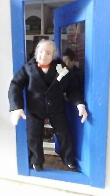 Dolls house older man in black suit - 12th scale