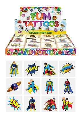 72 Childrens SUPER HERO Temporary Tattoos Kids Loot Party Bag Fillers Boys Girls