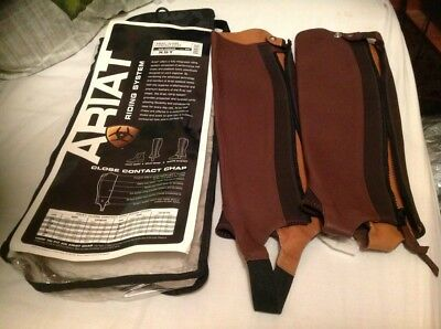 Ariat Close Contact Brown Leather Chaps Gaiters Size. Xst