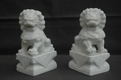 Vintage Finely Carved White Marble Chinese Fu Foo Temple Dog Lion Bookends