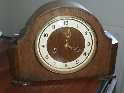 Vtg Smiths Enfield Wooden Cased Chiming Mantle Clock with Key