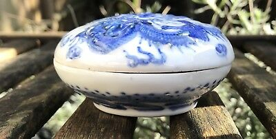 Chinese Porcelain Blue & White Seal Paste Pot Signed To Base Dragons