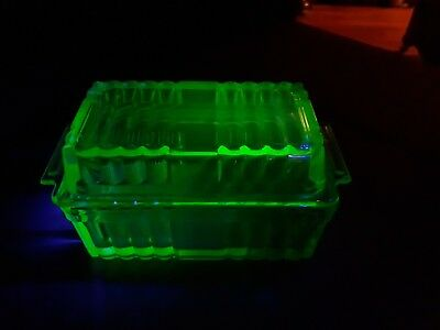 Lovely 1930s Uranium Glass Butter Dish With Lid