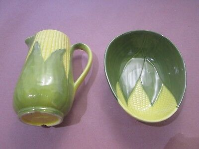 Vintage Shawnee Corn King Pitcher #71 and Oven Proof Serving Bowl Dish #85