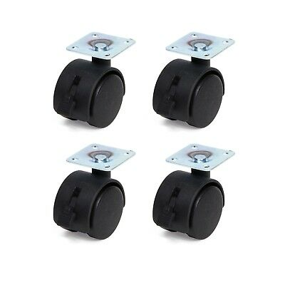 Set of 4 FURNITURE CASTORS SWIVEL TRANSPORT With Mounting Plate 38 x 38 mm