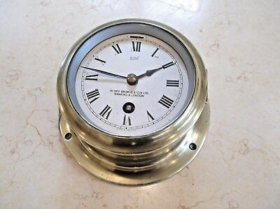ORIGINAL BRASS SHIPS CLOCK, 8 DAY MOVEMENT by HENRY BROWNE & SON LTD, c 1950 +