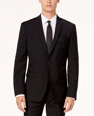 $350 BAR III men BLACK SLIM FIT WOOL SUIT JACKET BLAZER SPORTS COAT SIZE 42 S