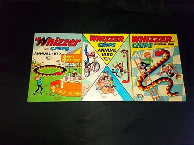 Whizzer And Chips Annuals x 3 1979,1980,1981 Vintage/Retro U.K Comic