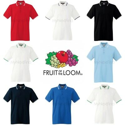 431dcdce FRUIT OF THE Loom MEN'S TIPPED POLO SHIRT STRIPES COLLAR SMART ...