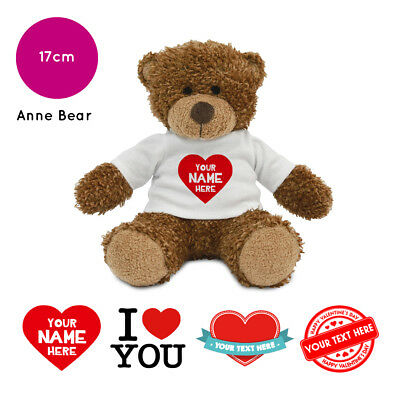 Personalised Name Valentines Day Anne Soft Toy Teddy Bear Gifts For Him / Her