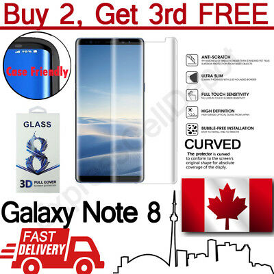 Case Friendly Samsung Galaxy Note 8 Clear Curved Tempered Glass Screen Protector