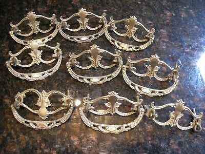 Antique Victorian Fancy Cast Brass Drawer Handles/Pulls SET OF NINE (Lot E-26)