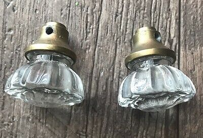 Antique vintage Glass Door Knob Vtg Doorknobs 12 Point Sided knobs