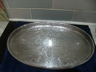 BEAUTIFUL SILVER PLATED GALLERIED DRINKS TRAY 385mm x 250mm with ball feet