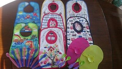 Two Tommee Tippee Non Slip Mats + Feeding Bibs and spoons / sporks