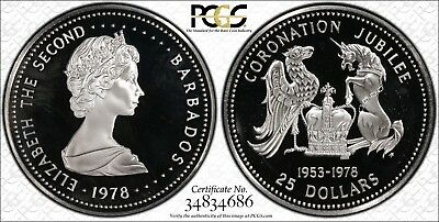 1978-FM Barbados Silver $25 Dollars 'Coronation Jubilee' PCGS PR67 DCAM