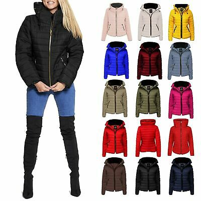 New Ladies Fur Collar Quilted Puffer Bubble Padded Jacket Gold Zip Up Thick Coat