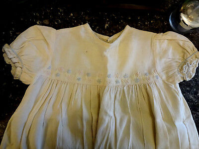 Original vintage 1940s 30s baby girl linen dress Homefront display doll clothes