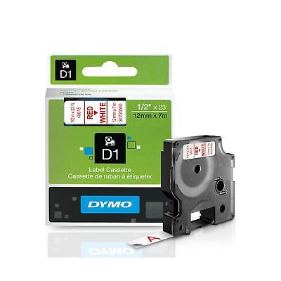 DYMO Standard D1 45015 Labeling Tape ( Red Print on White Tape , 1/2'' W x 23...