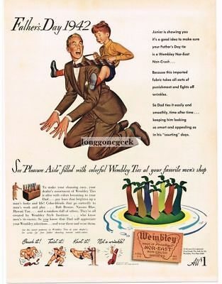 1942 Wembley Ties Father's Day Boy Riding Dad Horesback art Vtg Print Ad