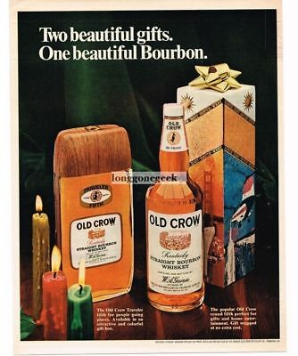1968 OLD CROW Bourbon Whiskey Traveller and Round Fifth Vtg Print Ad