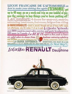 1959 Renault  DAUPHINE Black 4-door Sedan VTG PRINT AD