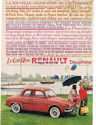 1959 Renault  DAUPHINE Coral Red 4-door Sedan VTG PRINT AD