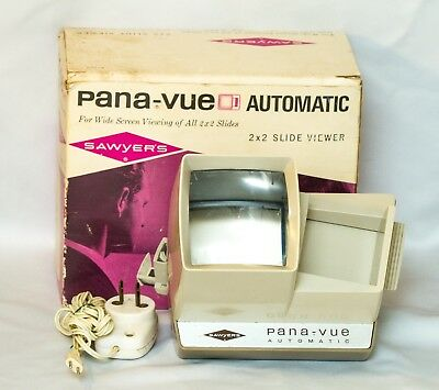 Sawyer's Pana-Vue Lighted 2X2 Slide Viewer Tested With A/C Adapter~Original Box