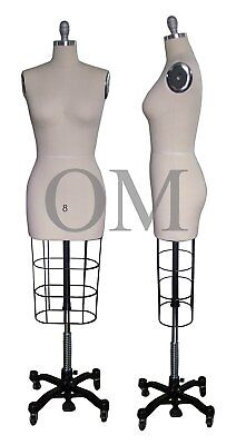 Professional Female Mannequin Dress Form, W/ Heavy Rolling Base, Size 8 (ncs 8)