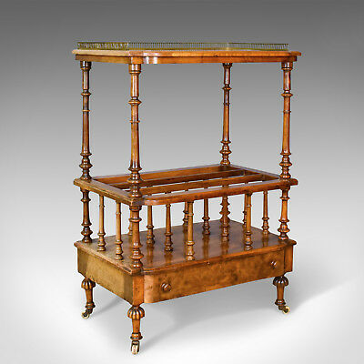 Antique Canterbury Table, English, Regency, Burr Walnut, Circa 1830