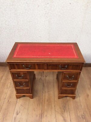 Vintage Reproduction Yew Wood Kneehole Desk