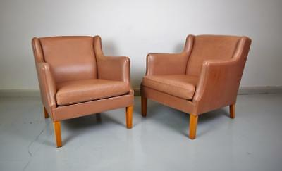 (1 of 2) Mid Century Retro Danish Light Brown Leather Lounge Armchair 1970s