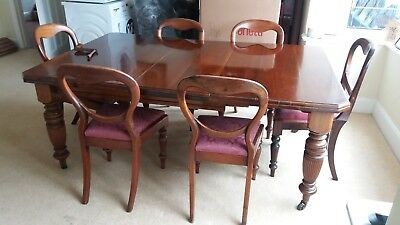 Victorian Antique Mahogany Extending Dining Table & 6 Balloon Back Dining Chairs