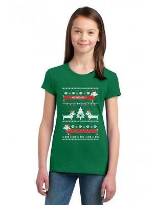 Funny Dachshund Snow Ho Ho Ho Ugly Christmas Girls' Fitted Kids T-Shirt Xmas