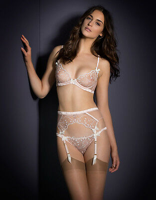 Agent Provocateur Ambrose Pink & Ivory Brief & Suspender 3 M Uk 10-12 Bnwtib