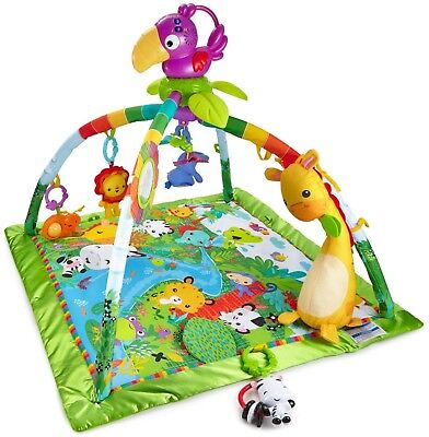 Fisher Price® Rainforest Music Lights Deluxe Baby Gym DFP08 Soft Satin Toys