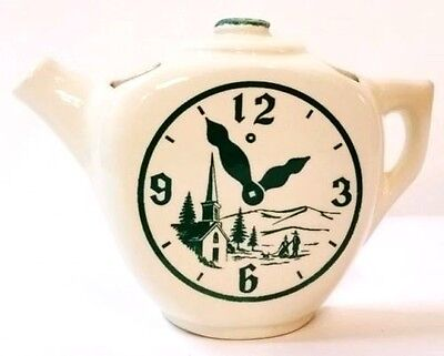"Vintage Teapot 4.5"" tall wall pocket w/ clock design Ivory"